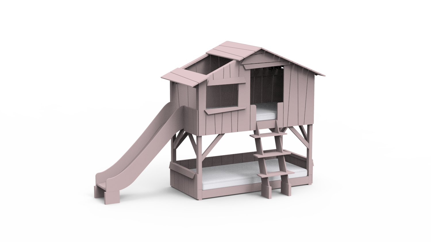 Treehouse Bunk Bed Slide Mdf And Pine Fathead Fox